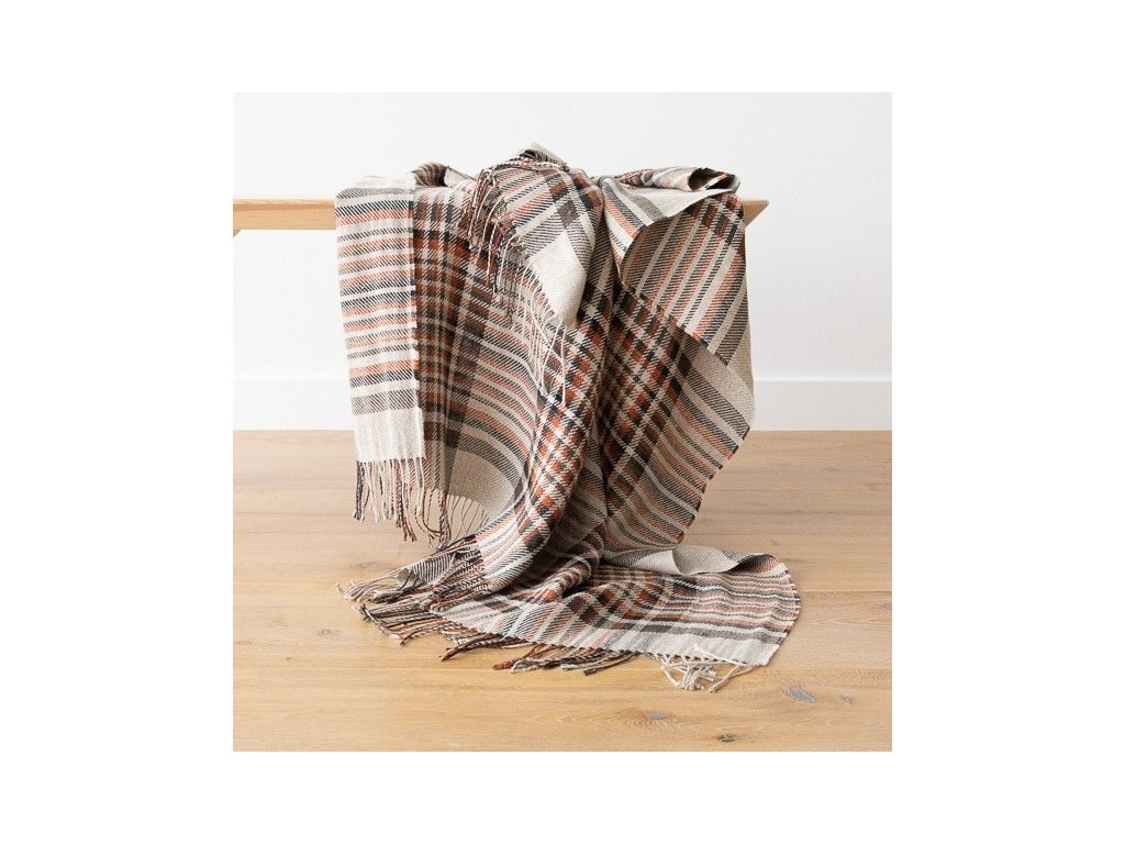 Natural Black Square Linen Throw Paolo