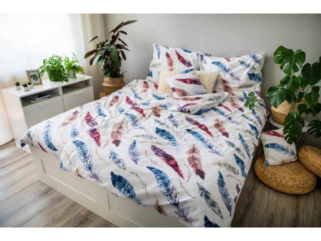 Posteľné obliečky 3dielne Flores pink 140x200 + 70x90 + povláček 40x40 cm