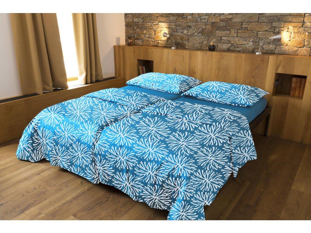 Luxusné saténové obliečky z biobavlny s motívom - tealová 200×140,90×70 cm