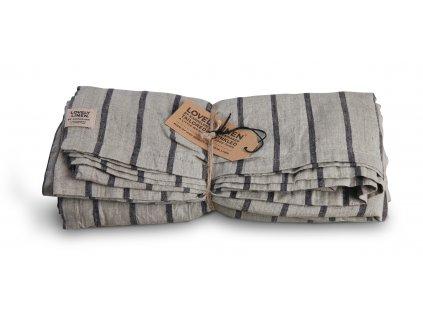 Lovely Linen stolný bežec Misty Stripe black 47x150