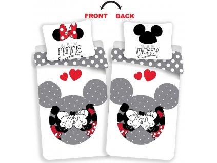 Obliečky Mickey and Minnie love grey 140x200, 70x90 cm