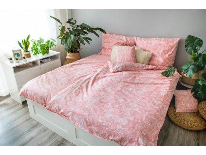 Posteľné obliečky 3dielne Monstera blue 140x200 + 70x90 + povlak 40x40 cm