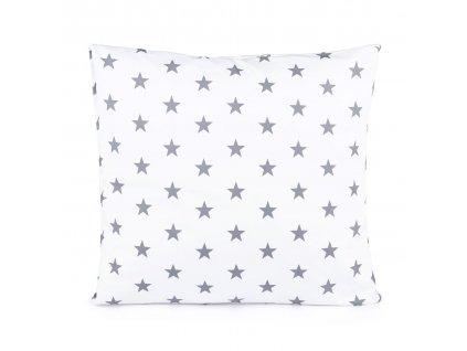 Povlak na vankúš Hviezdička sivá na bielom 50x50