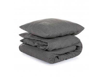 Ľanové obliečky Dark Grey 200x200,50x70