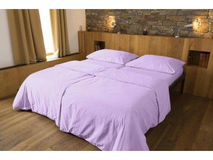 Luxusné saténové obliečky z biobavlny - fialová 200×140, 90×70 cm