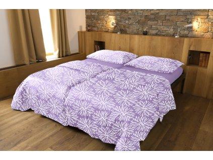 Luxusné saténové obliečky z biobavlny s motívom - fialová 200×140, 90×70 cm