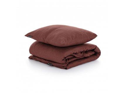 Ľanové obliečky Hnedá 140x200,50x70