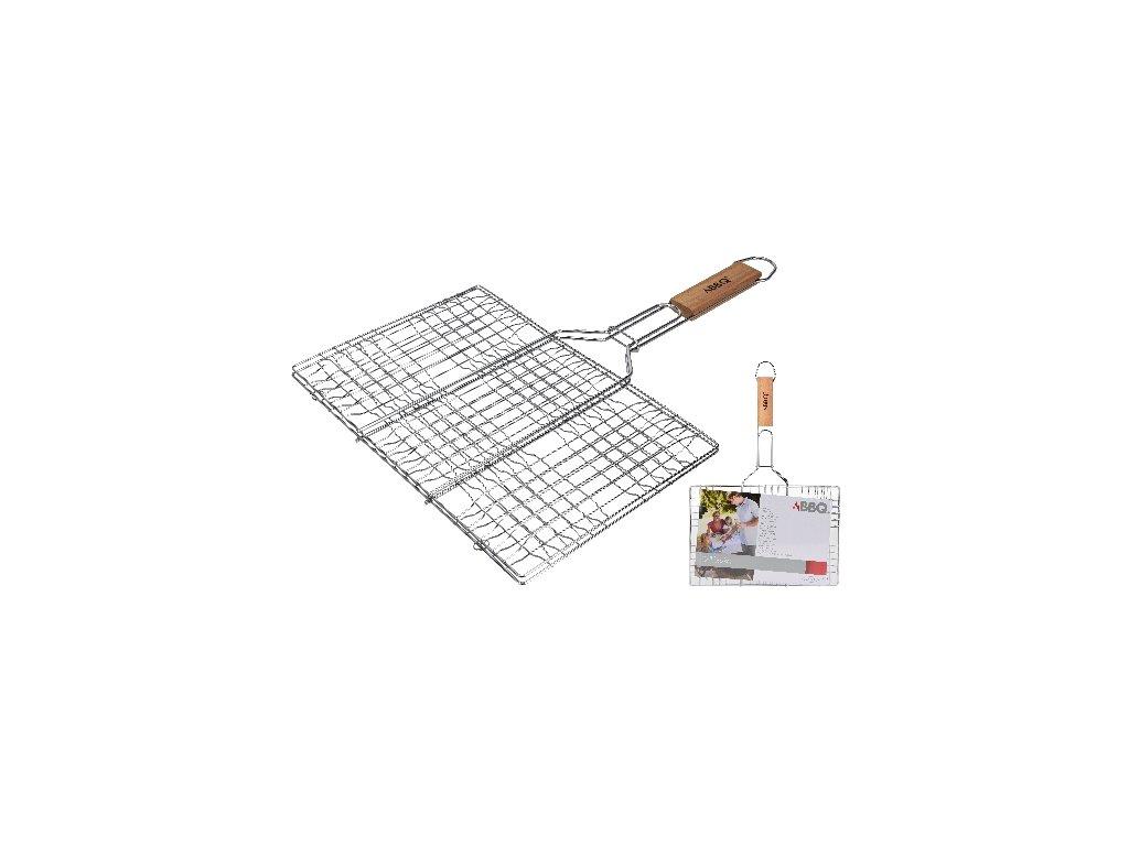 Mriežka opekacia hranatá 34x23cm, dĺžka 48cm, BBQ drev. rukoväť