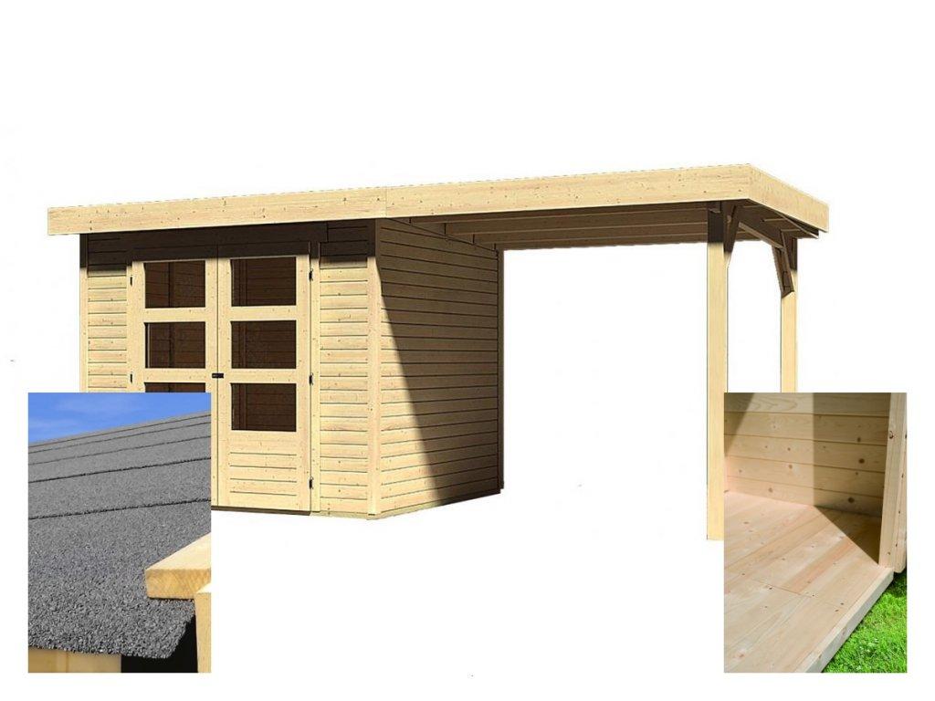 Drevený domček KARIBU ASKOLA 3 + prístavok 240 cm (14441) SET
