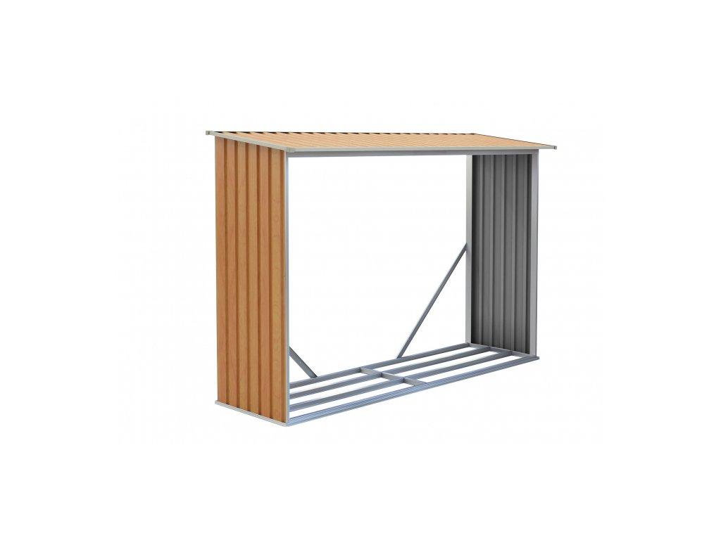 Prístrešok na drevo G21 WOH181 - 242 x 75 cm, hnedý