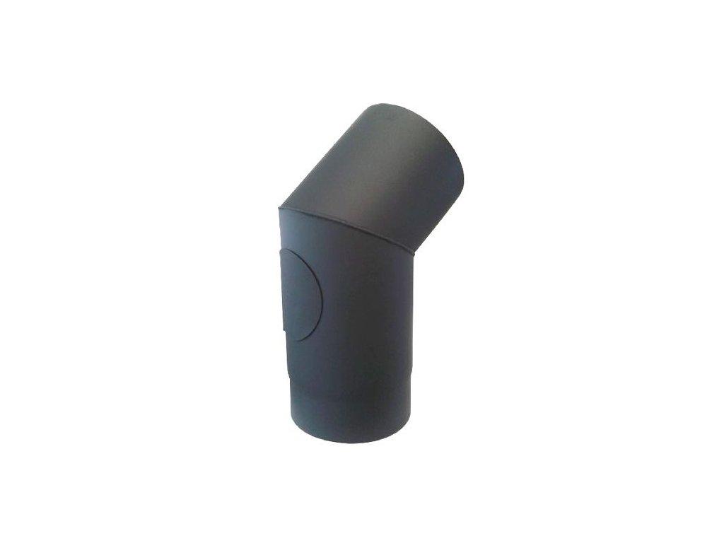 Dymové koleno s otv.150 mm/45°, t.1,5 mm, čierne