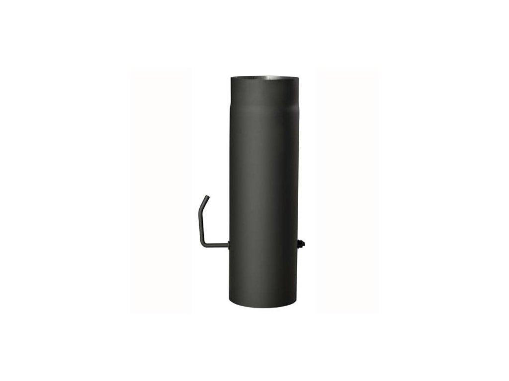 Dymová rúra s klapkou 130 mm/500, t.1,5 mm, čierna