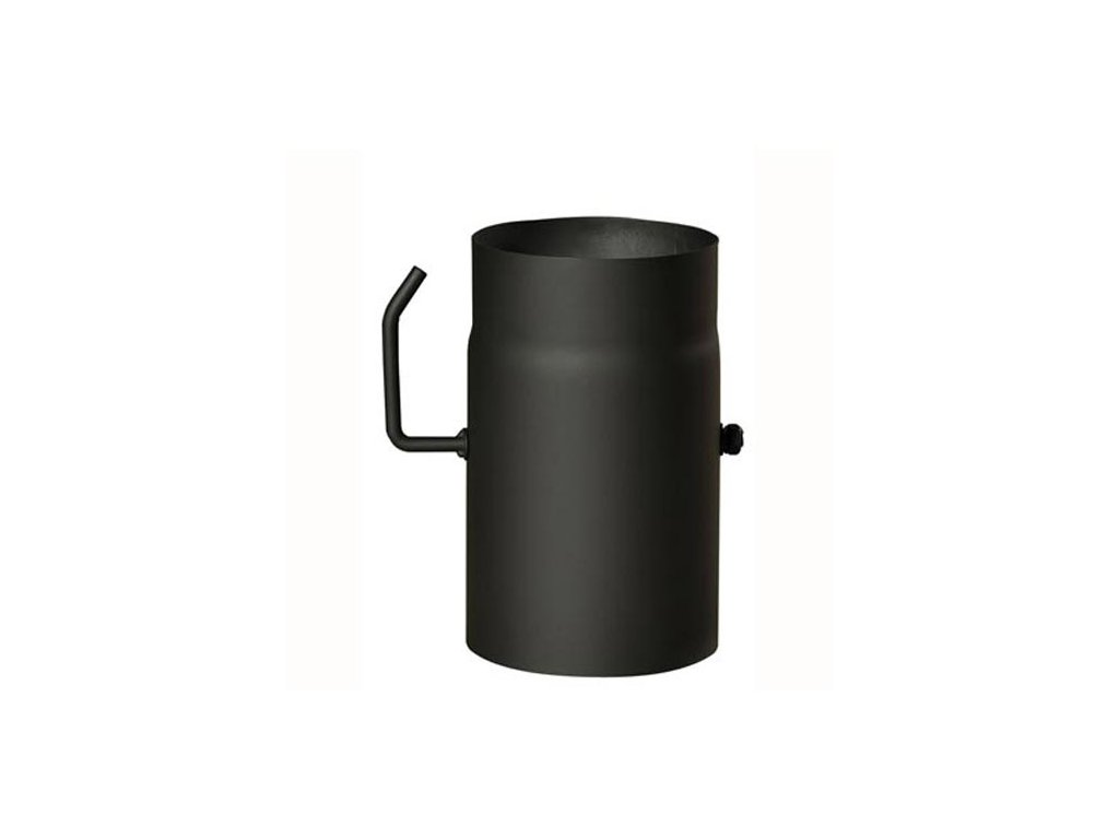 Dymová rúra s klapkou 120 mm/250, t.1,5 mm, čierna
