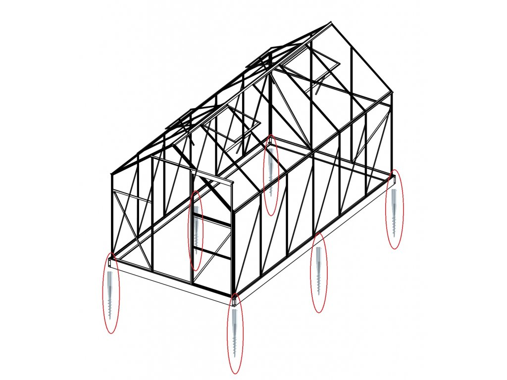 Sada 6 zemné skrutky (modely 6x8, 6x10, 6x12, 4400 - 7500)