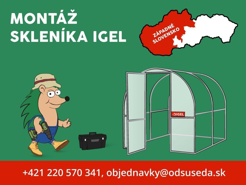 Polykarbonátový skleník IGEL SAGE 4 x 2,6 m, 4 mm  + Kompletná predmontáž polykarbonátu na obe čelá skleníka