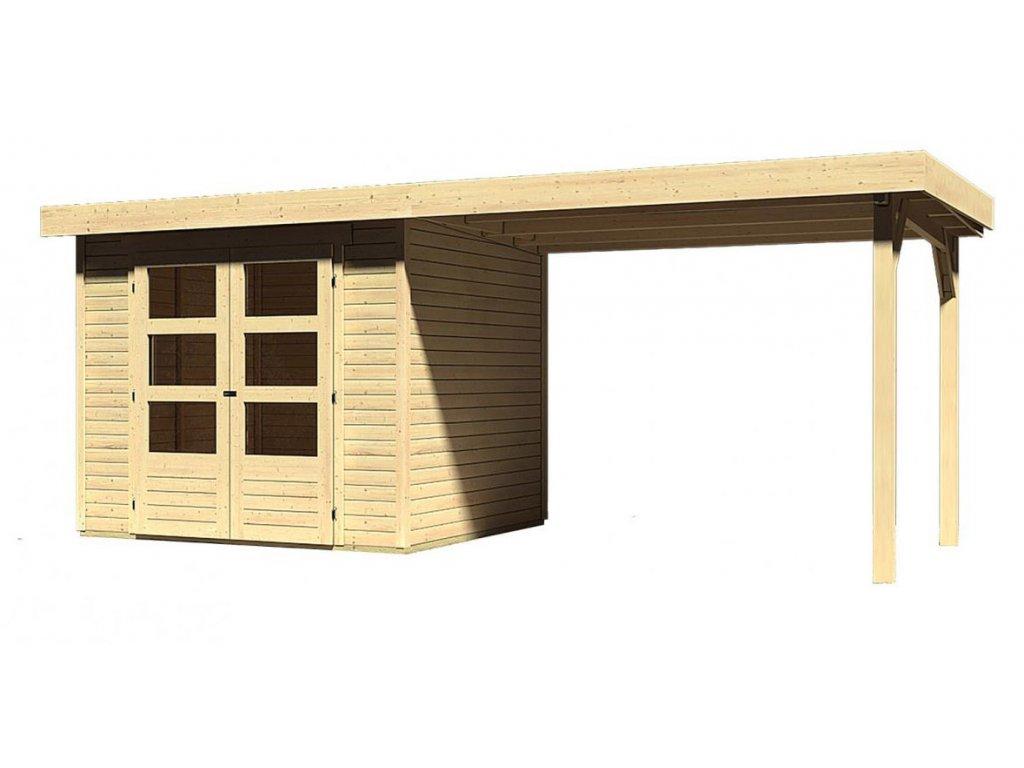 Drevený domček Karibu ASKOLA 3 + prístavok 280 cm, natur