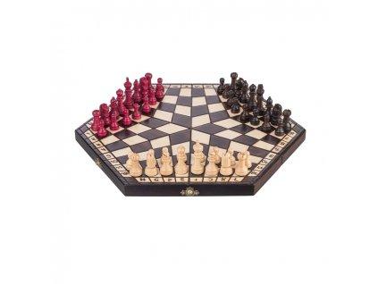 Drevené šachy - šesťhran pre 3 hráčov