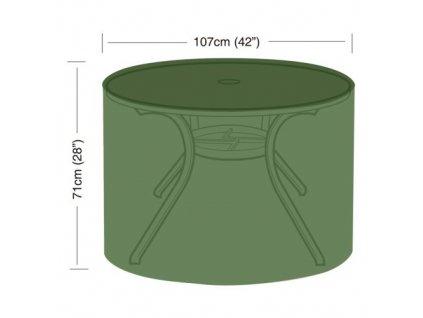 Krycia plachta na okrúhly záhradný stôl pr.107 x 71 cm, PE 90g / m2