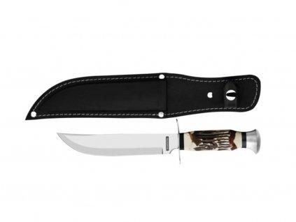 Lovecký nôž OUTDOOR 12,5 cm v koženom obale, čierna/blister
