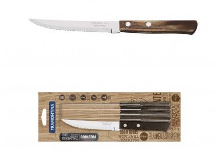 Sada steakových nožov Tramontina Polywood, 6ks, 12,5cm, hnedá/blister