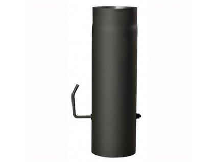 Dymová rúra s klapkou 150 mm/500, t.1,5 mm, čierna