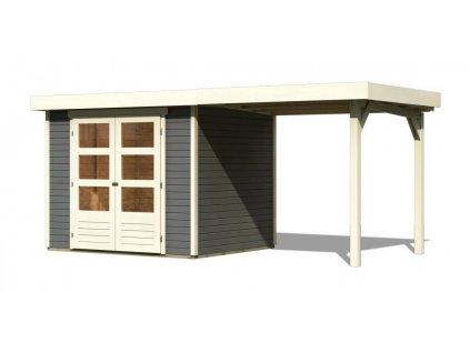 Drevený domček Karibu ASKOLA 4 + prístavok 240 cm, tmavosivý