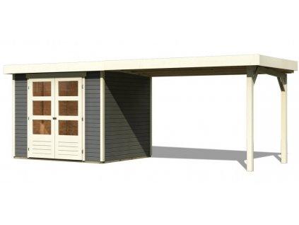 Drevený domček Karibu ASKOLA 3 + prístavok 280 cm, tmavosivý
