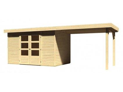 Drevený domček Karibu ASKOLA 4 + prístavok 280 cm, natur