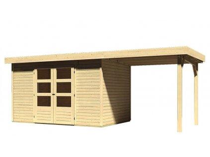 Drevený domček Karibu ASKOLA 4 + prístavok 240 cm, natur