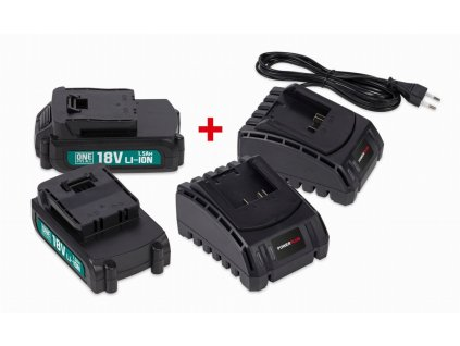 Sada 2x batéria POWERPLUS 18V LI-ION 1.5Ah + 2x nabíjačka