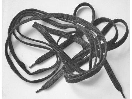 Tkaničky ploché černé, délka 160 cm, do vysokých vojenských bot, nové