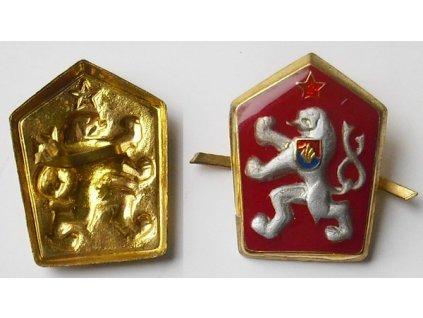 Odznak na čepici ČSLA, státní znak ČSSR, červený
