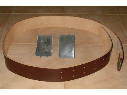 Opasek vzor 60 kožený, hnědý, originál ČSLA, dlouhodobě skladovaný, přezka s hvězdou