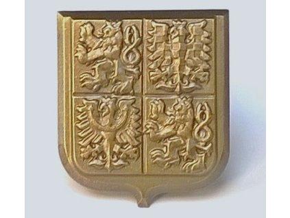 Odznak na čepici vojáka, Český znak, Lvi a orlice na pavéze, MATNÝ, army AČR
