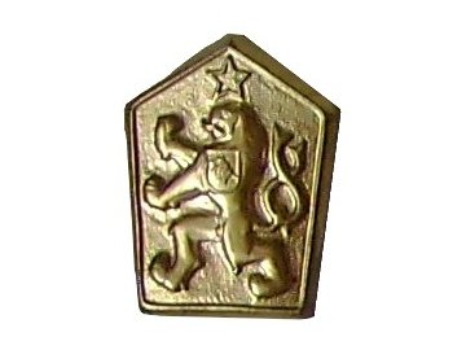 Odznak na čepici ČSLA, státní znak ČSSR, mosazný