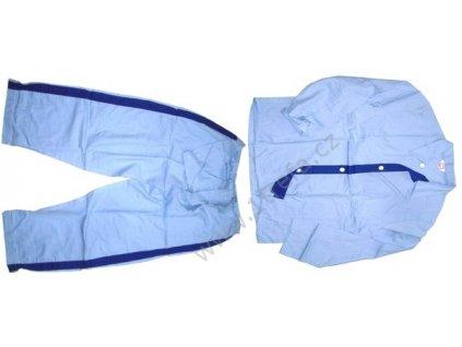 Pyžamo nemocniční, modré s LAMPASY, originál ČSLA, dlouhodobě skladované