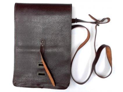 Brašna na pásek s přihrádkami, hnědá vrásčitá kůže, originál ČSLA, dlouhodobě skladovaná