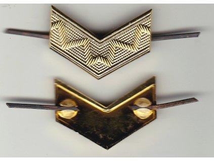 Odznak AČR na nárameníky, zlatá kolejnice velká do V, originál
