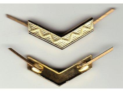Odznak AČR na nárameníky, zlatá kolejnice malá do V, originál