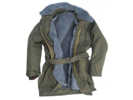 Kabát vzor 85 s vložkou, límcem a kapucí, originál ČSLA, nepoužitý