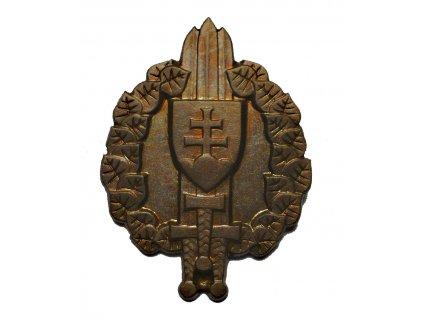 Odznak vševojskový Slovensko, originál, mosazný