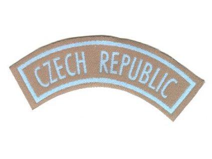 Nášivka CZECH REPUBLIC, modrá na hnědém podkladu, originál