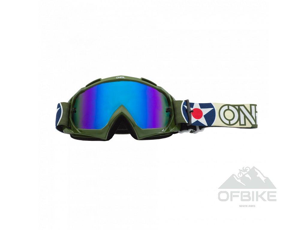 Brýle O´Neal B-10 WARHAWK zelená/béžová modrá radium