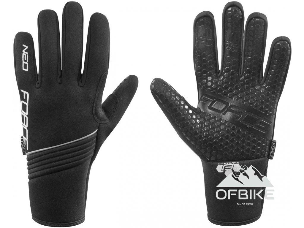 rukavice zimní neoprén FORCE NEO, černé