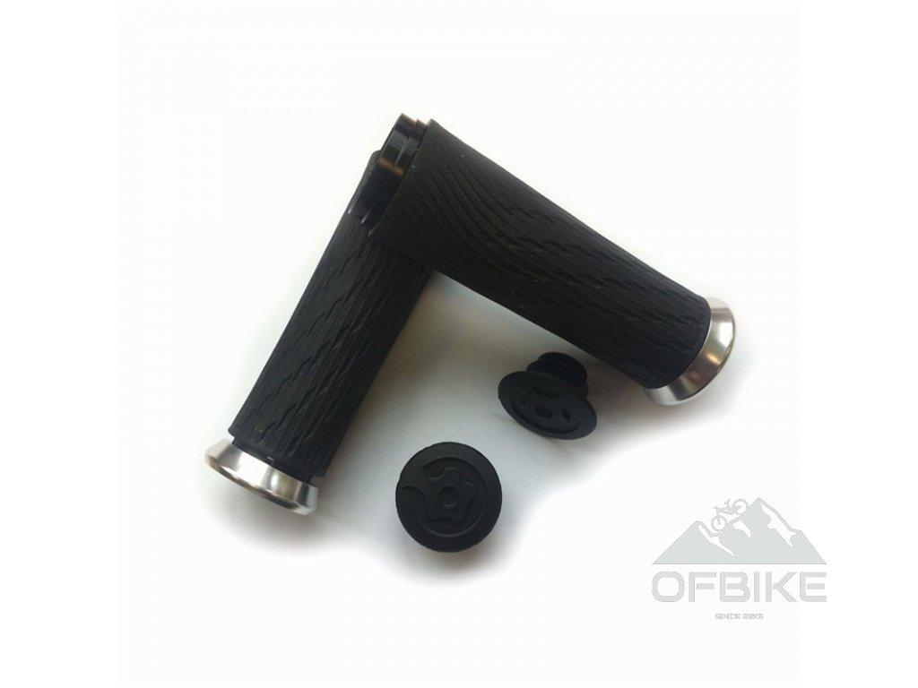 Locking gripy pro Grip Shift Full Length 122mm se stříbrnými objímkami a koncovkou řidítek