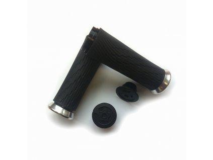 Locking gripy pro Grip Shift Integrated 100mm se stříbrnou objímkou a s koncovkou řidítek