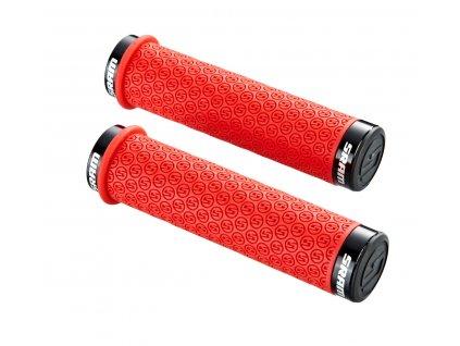 SRAM DH Silicone Locking gripy červené s objímkami a s koncovkami řidítek