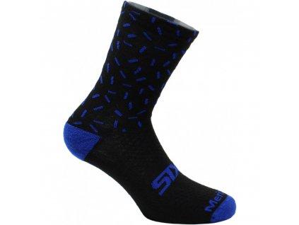 SIXS Merinos ponožky černá/modrá I