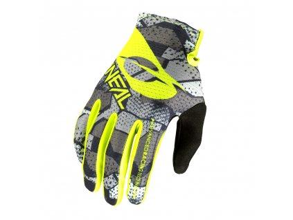 Dětské rukavice O´Neal Matrix CAMO šedá/žlutá