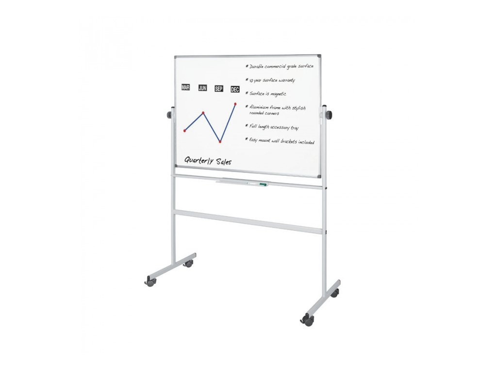 Mobilní oboustranná magnetická tabule, 1800 x 1200 mm